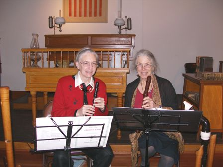 Kay and Barbara perform on recorder at Courthouse Museum.